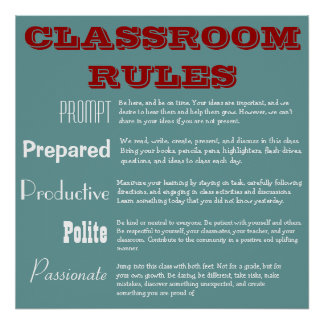 5 P's Classroom Rules Poster