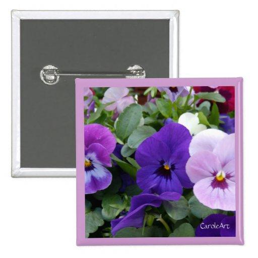5 Purple Lavender Blue Pansies Button