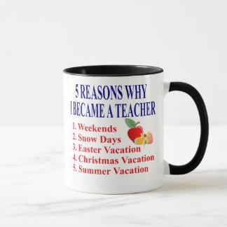 5 Reasons I Became A Teacher Funny Mug