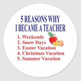 5 Reasons I Became A Teacher Funny.Stickers Round Sticker