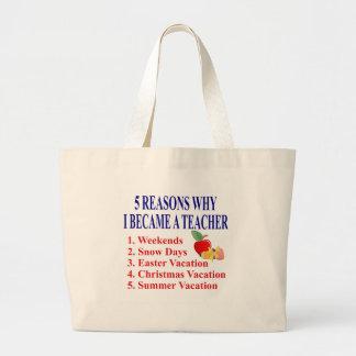 5 Reasons I Became A Teacher Funny Tote Bag