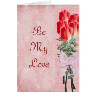 5 Roses with Pink Bow Valentine Greeting Card
