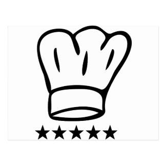 5 star chefhat postcard