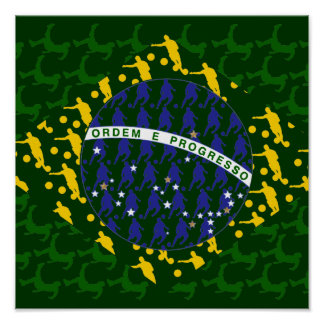 5 star soccer player flag of brazil print