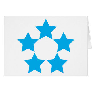 5 stars in blue greeting card
