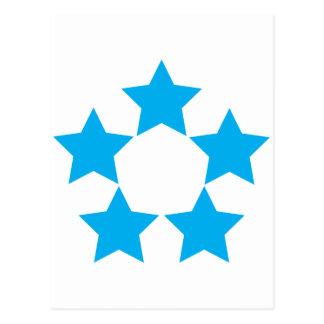 5 stars in blue postcard