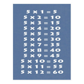 5 Times Table Collectible Postcard