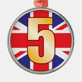 5 UK Gold Christmas Ornament