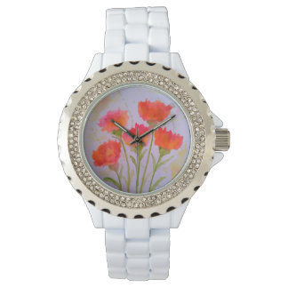 5 Vivid Watercolor Flowers Fashion Watch by Julie