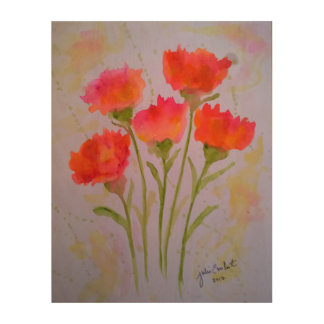 5 Vivid Watercolor Flowers Wood Wall Art by Julie