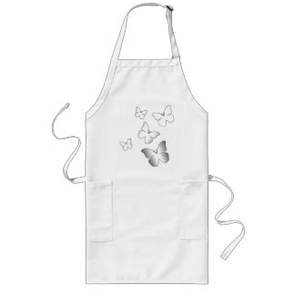 5 White Butterflies Long Apron