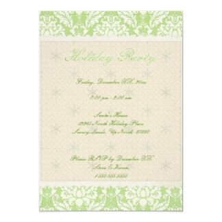"5""x7"" Green Damask Holiday Party Invite"