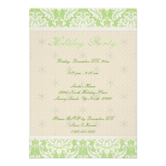 5 x7 Green Damask Holiday Party Invite