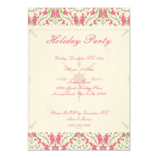 "5""x7"" Pink and Green Damask Holiday Party Invite"