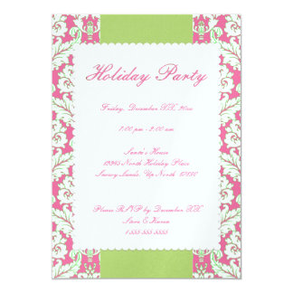 """5""""x7"""" Pink and Green Damask Holiday Party Invite"""