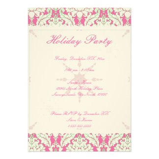 5 x7 Pink and Green Damask Holiday Party Invite