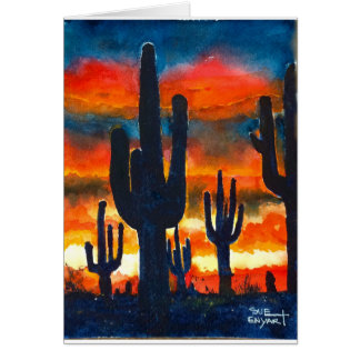 5 x 7 Card with envelope sunset saguaro