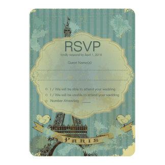 "5"" x 7""  Grunge Retro Paris RSVP Wedding Card 13 Cm X 18 Cm Invitation Card"