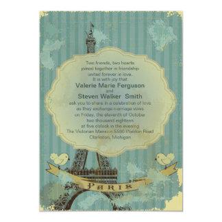 "5"" x 7"" Grunge Retro Paris Wedding Invitation"