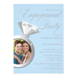 5 x 7 Ring Photo Engagement Party Invite