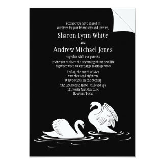 "5 x 7"" Swan Couple Black Wedding Invitation"