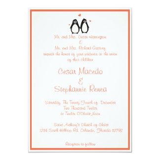 5 x 7 Wedding Invitation Penguin Love/Hearts Peach