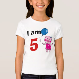 5 year old birthday girl gift (cute pig) T-Shirt