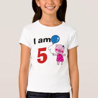 5 year old birthday girl gift (cute pig) t shirt
