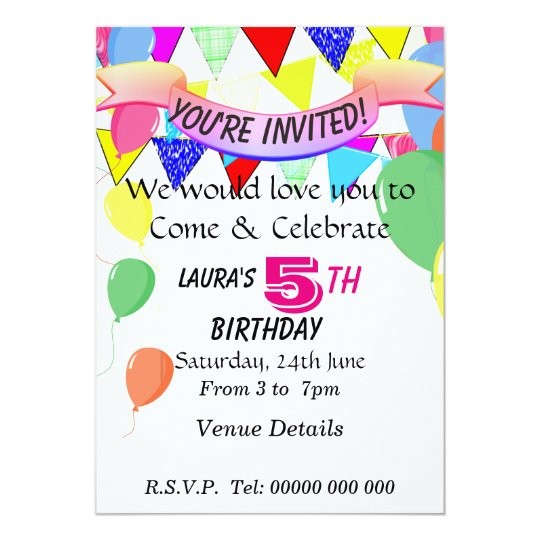 5 Year Old Birthday Party Invitation