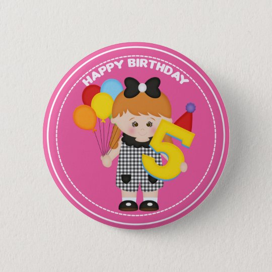 5 year old girl Birthday Button