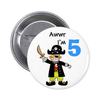 5 year old pirate boy 6 cm round badge