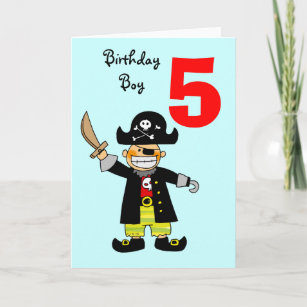 5 Year Old Pirate Boy Card