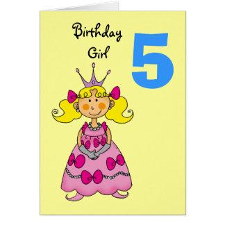 5 year old princess (blonde hair) greeting card