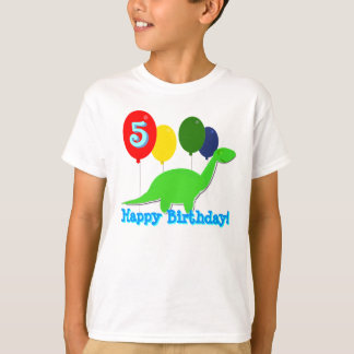 5 Years Birthday Dinosaur Balloons T-Shirt