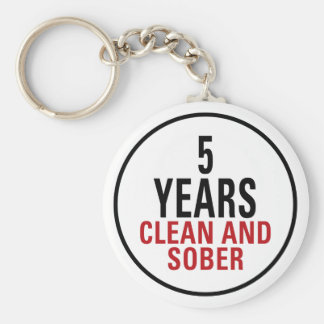 5 Years Clean and Sober Basic Round Button Key Ring