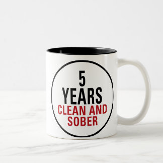 5 Years Clean and Sober Two-Tone Coffee Mug