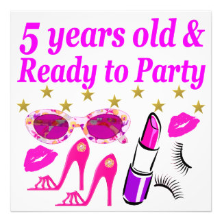 5 YEARS OLD AND READY TO PARTY PRINCESS DESIGN ART PHOTO