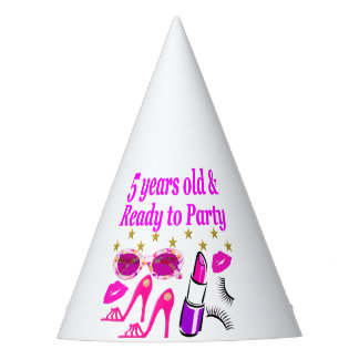 5 YEARS OLD AND READY TO PARTY PRINCESS DESIGN PARTY HAT