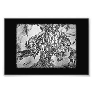 5Headed dragon black and white Art Photo