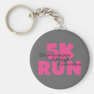 5K Run Pink Determination Strength Endurance Basic Round Button Key Ring
