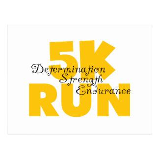 5K Run Yellow Postcard