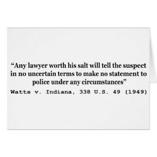 5th Amendment Watts v Indiana 338 US 49 1949 Greeting Card