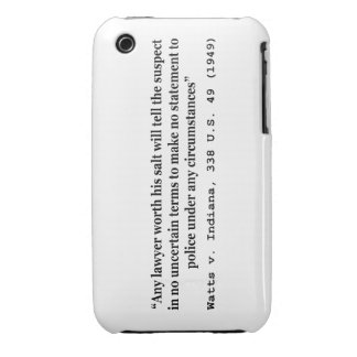 5th Amendment Watts v Indiana 338 US 49 1949 iPhone 3 Cover