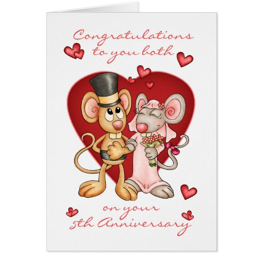 5th anniversary congratulations -cute mice anniver card