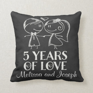 5th Anniversary Couples Personalized Pillow Throw Cushion