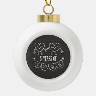 5th Anniversary Gift Chalk Hearts Ceramic Ball Decoration