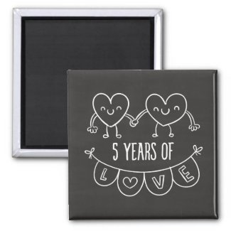 5th Anniversary Gift Chalk Hearts Magnet
