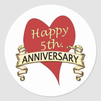 5th Anniversary Round Stickers