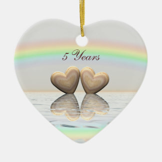 5th Anniversary Wooden Hearts Christmas Ornament