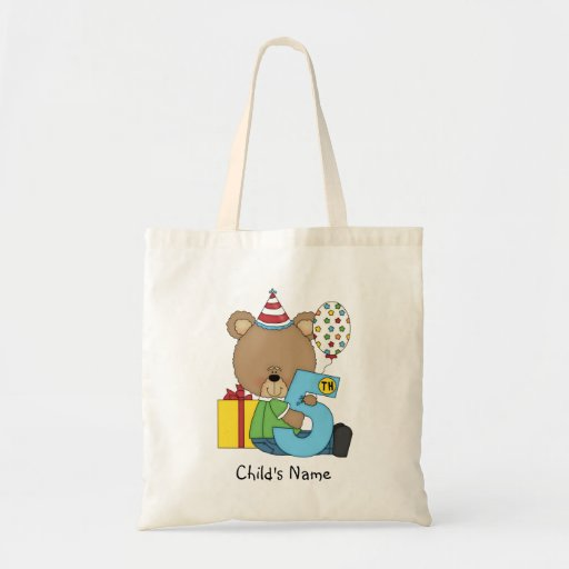 5th Birthday Bear Boy (customizable) Tote Bags